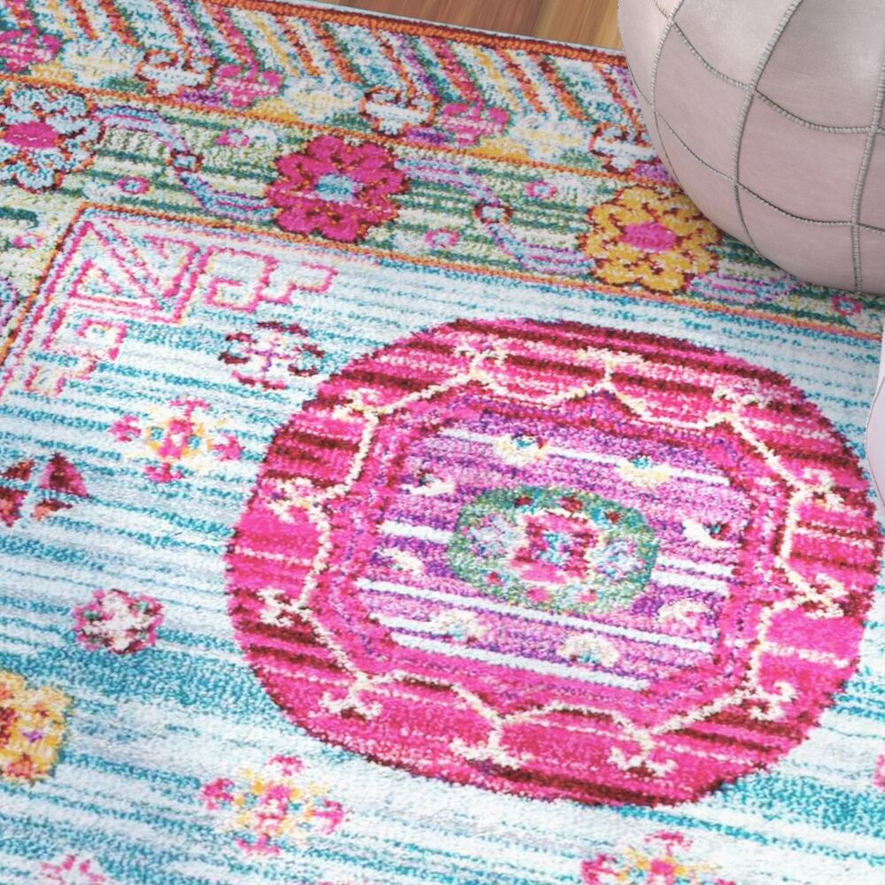 Carolos Pink/Blue Area Rug Rug Size: Rectangle 5'3