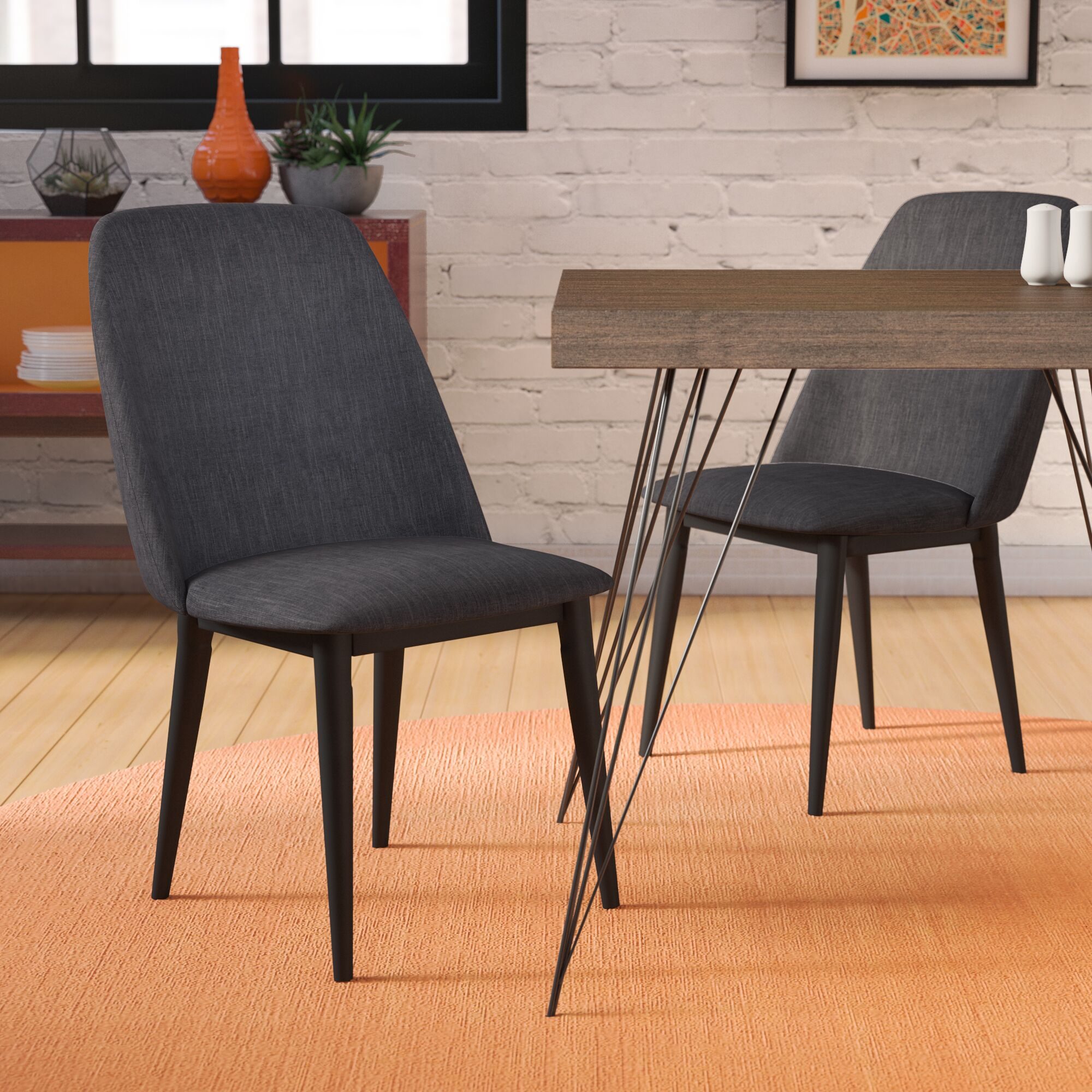 Bemott Upholstered Dining Chair Upholstery Color: Charcoal
