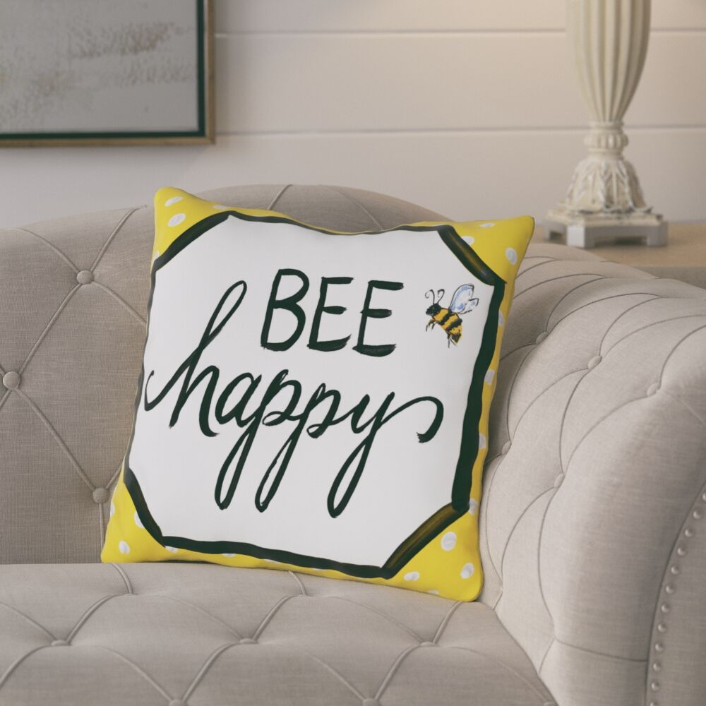 Ferguson Bee Happy Throw Pillow Size: 18