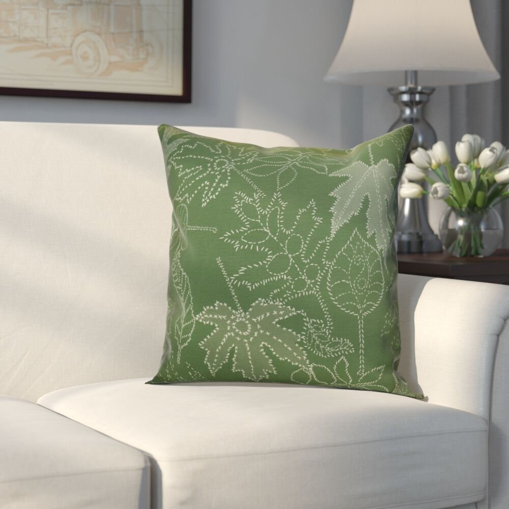 Miller Dotted Leaves Floral Throw Pillow Size: 20