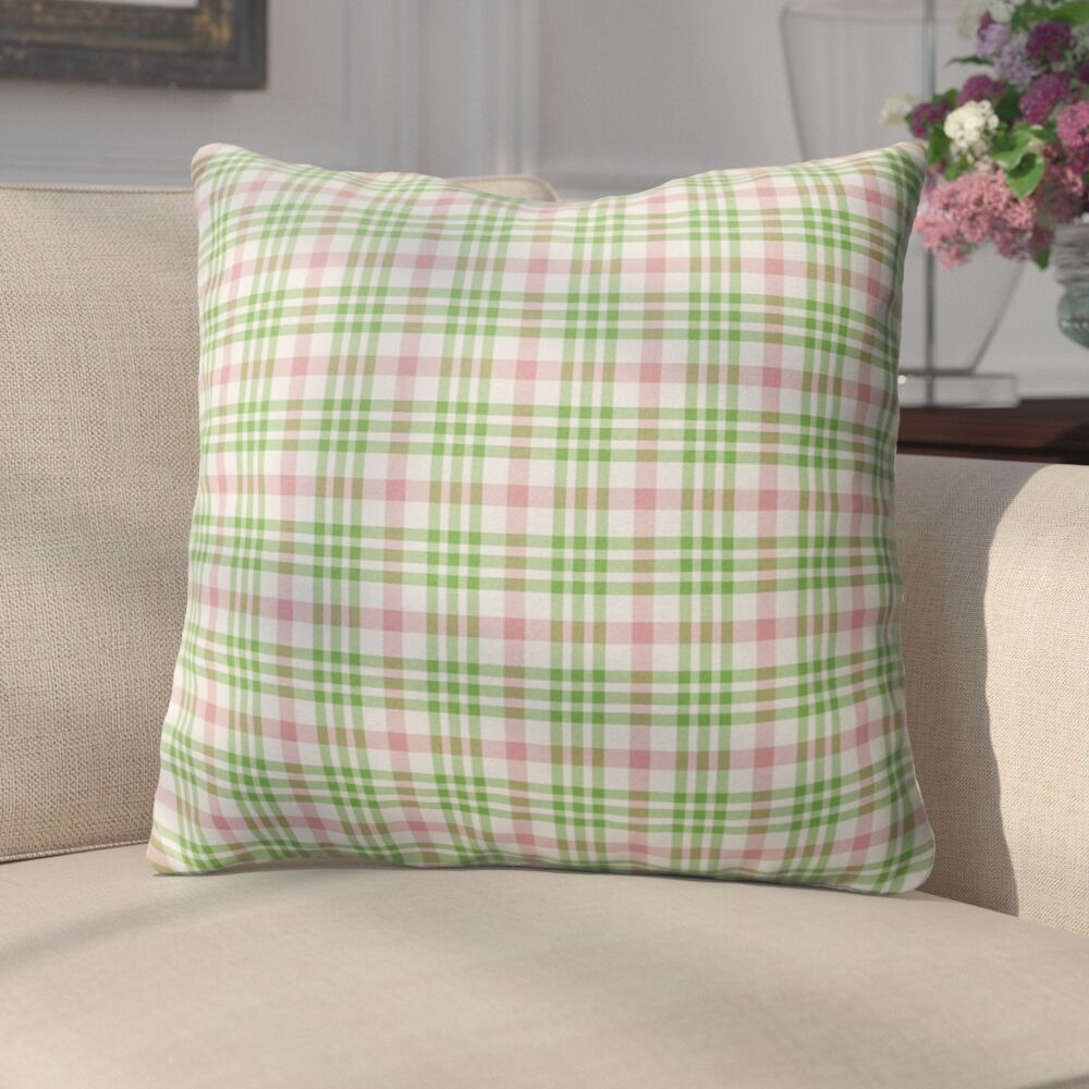 Pascual Plaid Indoor/Outdoor Throw Pillow Size: 26