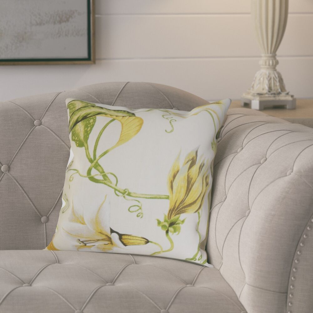 Keneth Floral Throw Pillow Color: Yellow, Size: 24