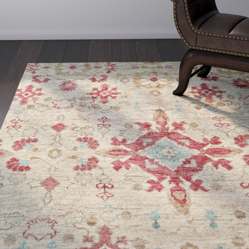 Arron Hand-Knotted Beige Area Rug Rug Size: Rectangle 4' x 6'