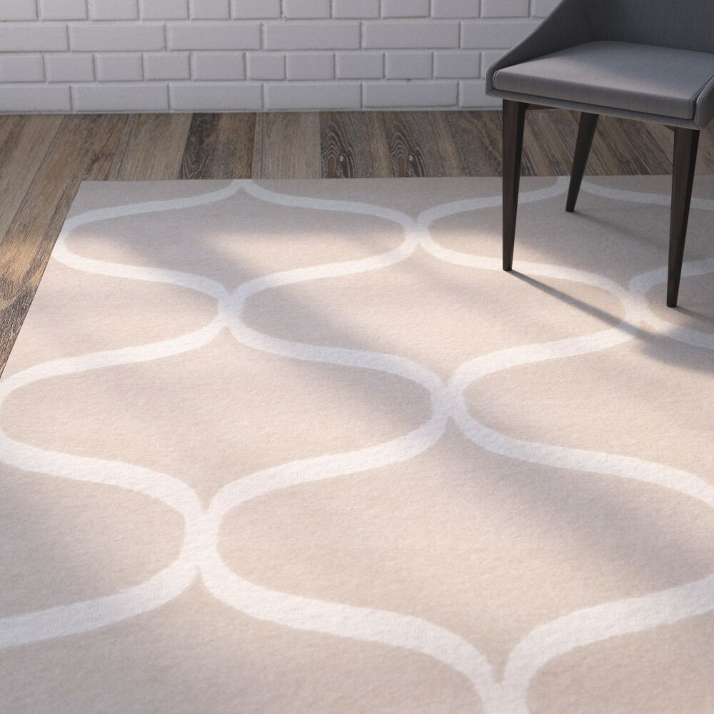 Martins Hand-Tufted Light Beige/Ivory Area Rug Rug Size: Rectangle 3' x 5'