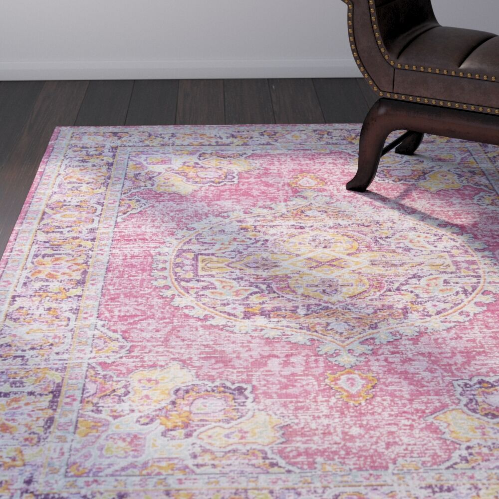 Kahina Vintage Distressed Oriental Rectangle Neutral Pink/Orange Area Rug Rug Size: Rectangle 7'10