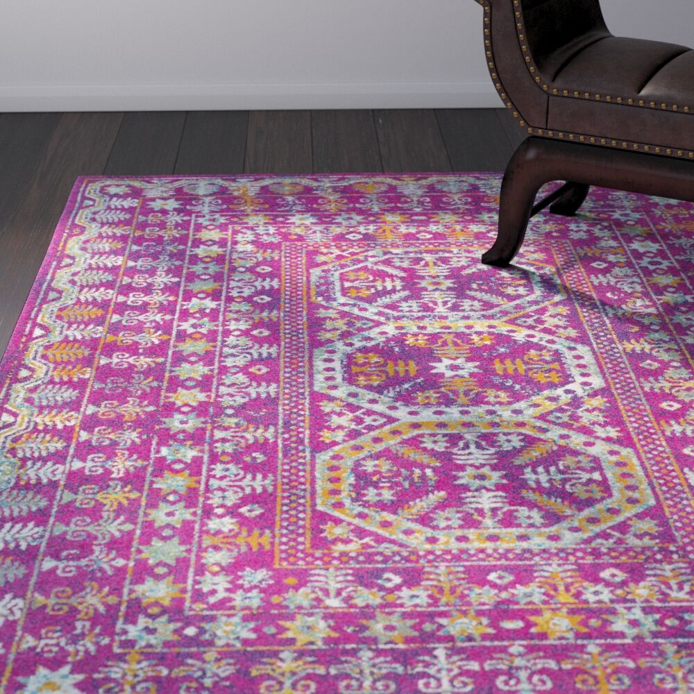Arteaga Traditional Vintage Pink Area Rug Rug Size: Rectangle 9'3