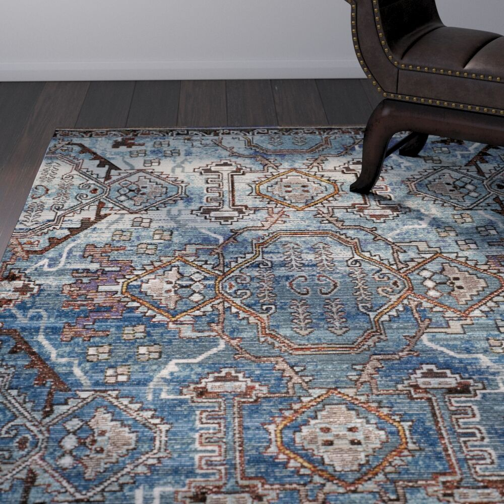 Wooten Blue/Light Blue Area Rug Rug Size: Rectangle 10' x 14'