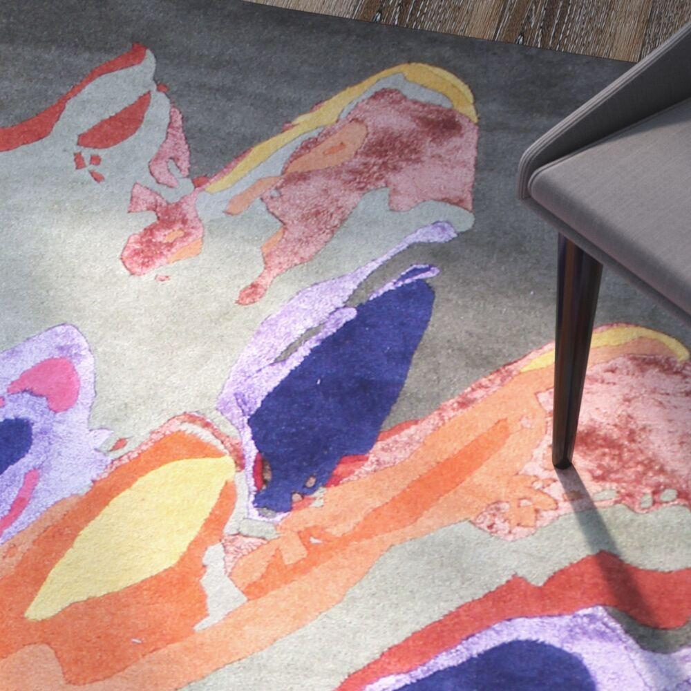 Macomber Hand-Tufted Wool Orange/Gray Indoor Area Rug Rug Size: 5' x 8'