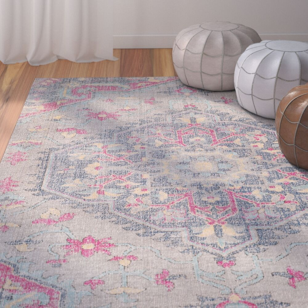 Randhir Gray/Pink Area Rug Rug Size: Rectangle 7'10
