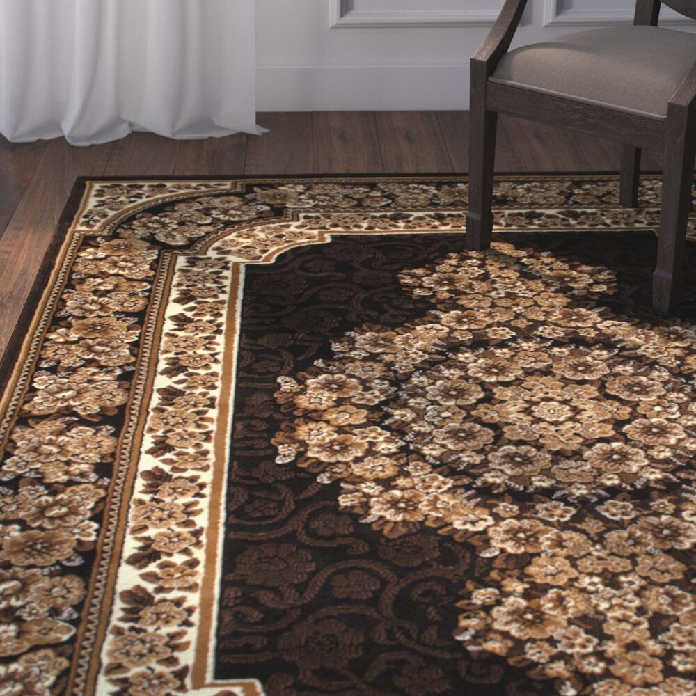 Arkin High-Quality Woven Double Shot Drop-Stitch Carving Black Area Rug Rug Size: 5'2