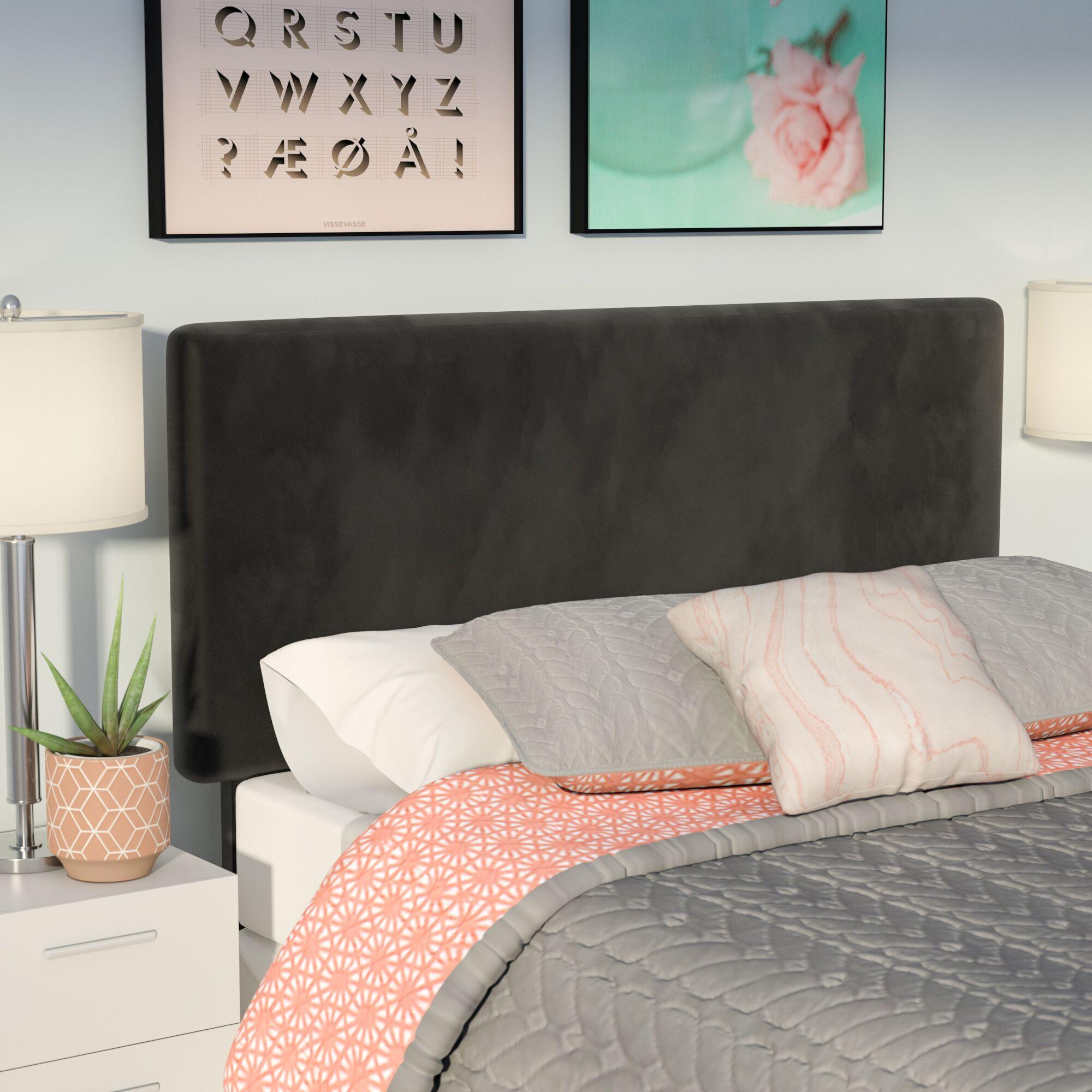 Caroga Upholstered Panel Headboard Size: King, Upholstery: Black