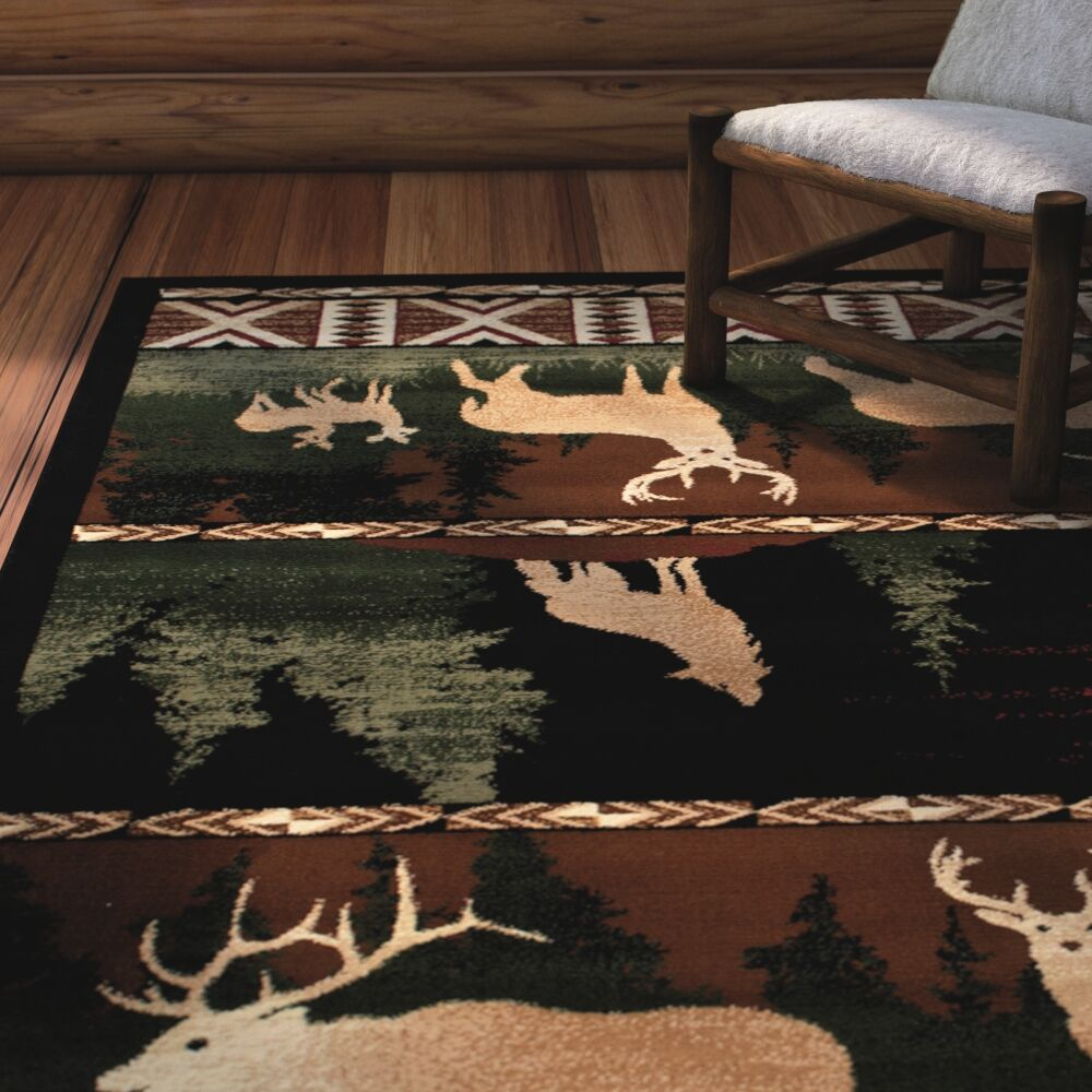 Iberide High-Quality Woven Ultra-Soft Southwest Wilderness Dawn Theme Green Area Rug Rug Size: 7'7