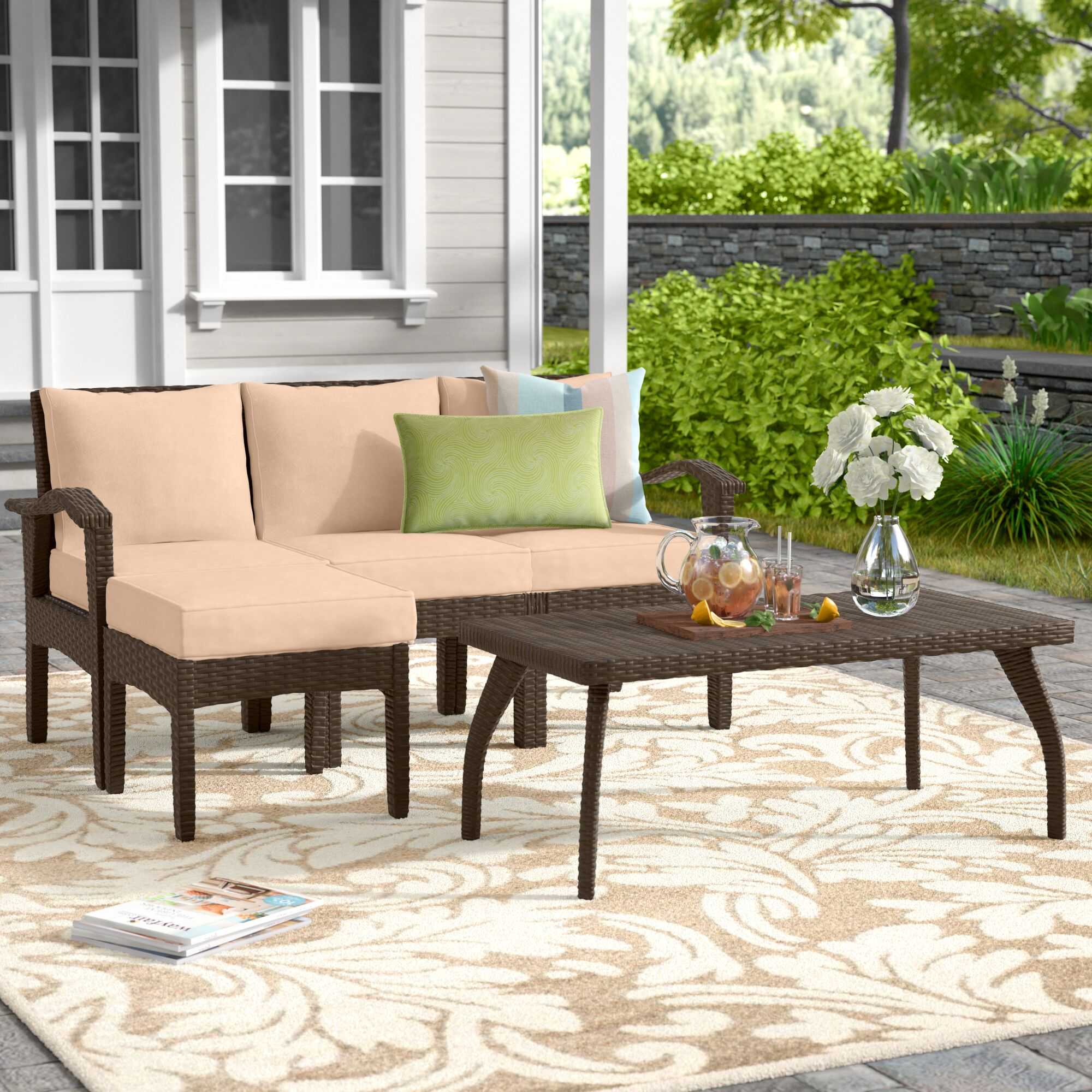 Arison 5 Piece Sectional Set with Cushions Fabric: Brown