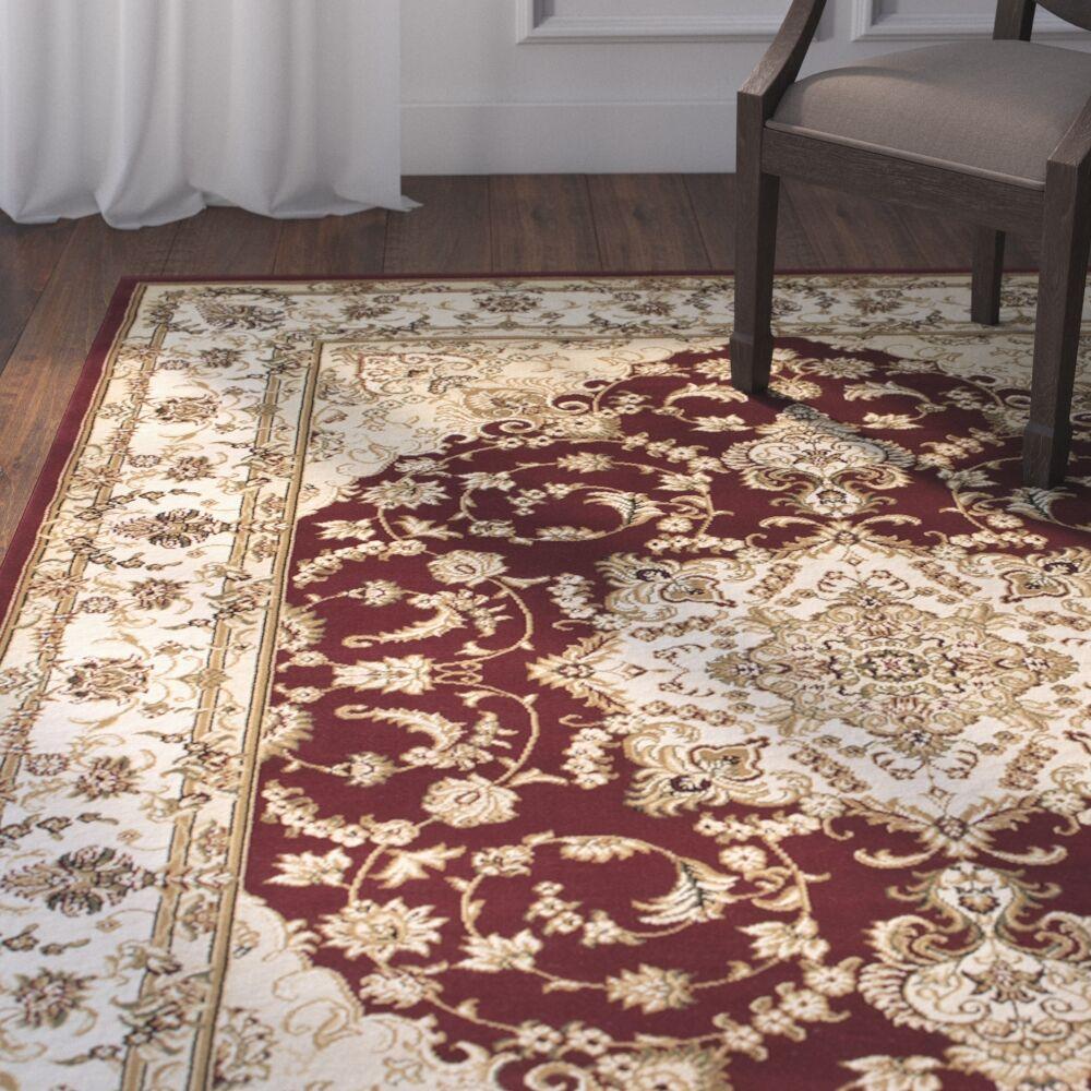 Arison High-End Ultra-Dense Floral Woven Burgundy Area Rug Rug Size: 6'7