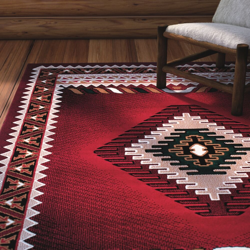 Iberide High-Quality Woven Red Area Rug Rug Size: 7'10