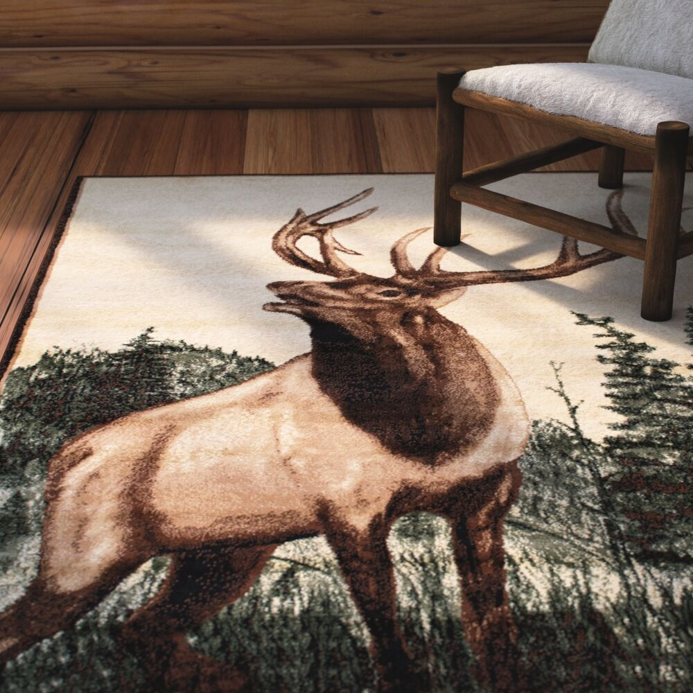 Lacour High Quality Woven Ultra-Soft Traditional Southwest Wilderness Moose Theme Berber Area Rug Rug Size: 5' 2