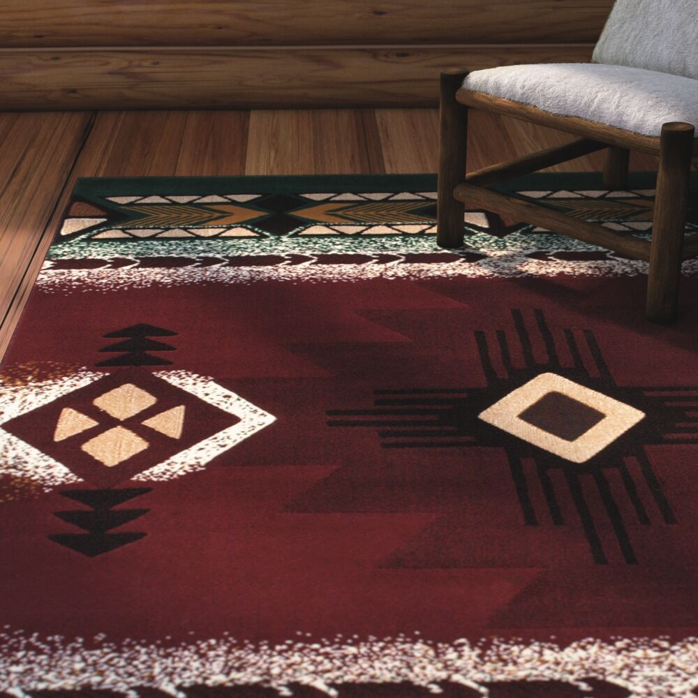 Iberide High-Quality Native Double Shot Drop-Stitch Carving Burgundy Area Rug Rug Size: 7'10