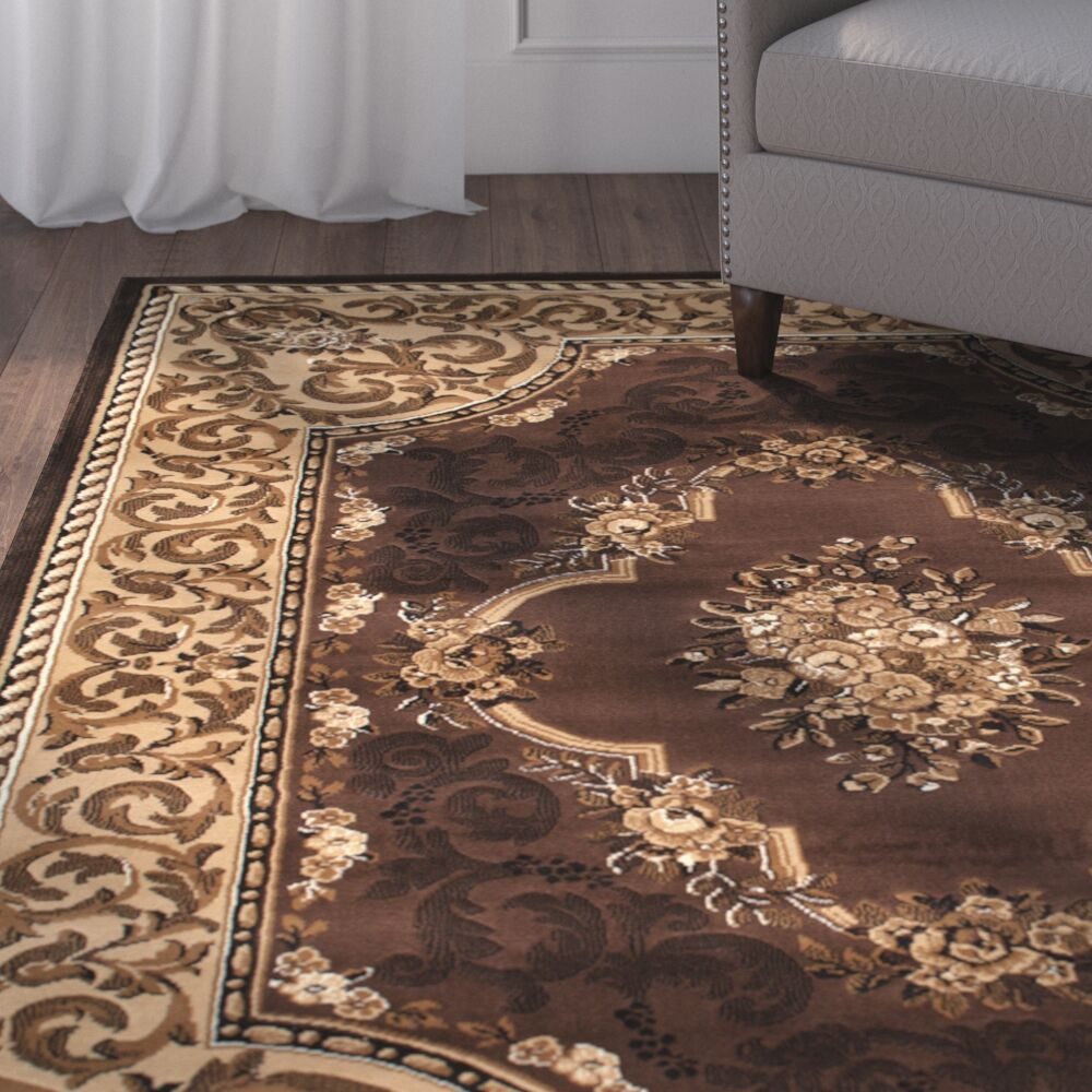 Andrews High-Quality Woven Floral Printed Double Shot Drop-Stitch Carving Chocolate Area Rug Rug Size: 5'2
