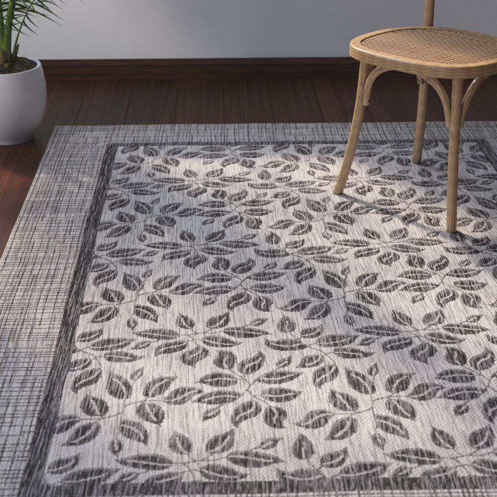 Key Haven Ivory/Charcoal Indoor/Outdoor Area Rug Rug Size: Rectangle 9'6