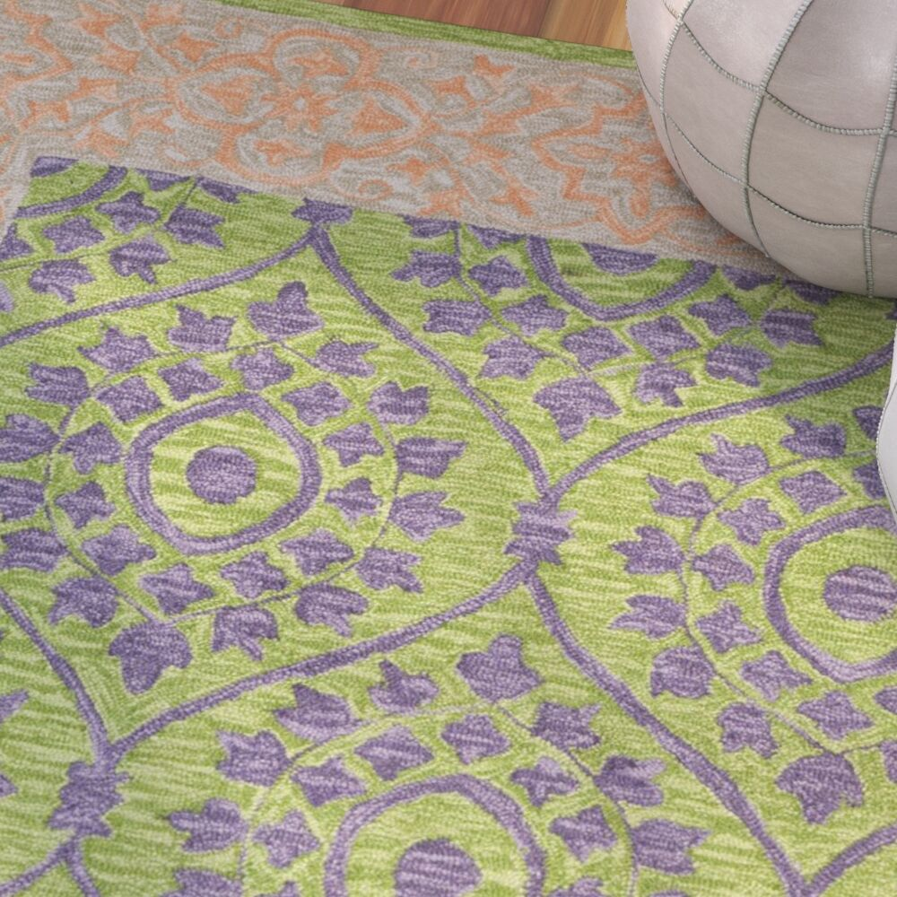 Tomo Hand-Hooked Green Area Rug Rug Size: Rectangle 4' x 6'