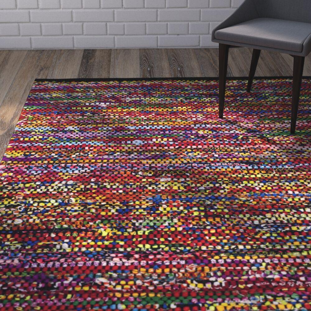 Shatzer Hand-Woven Cotton Fuchsia Area Rug Rug Size: Square 6'