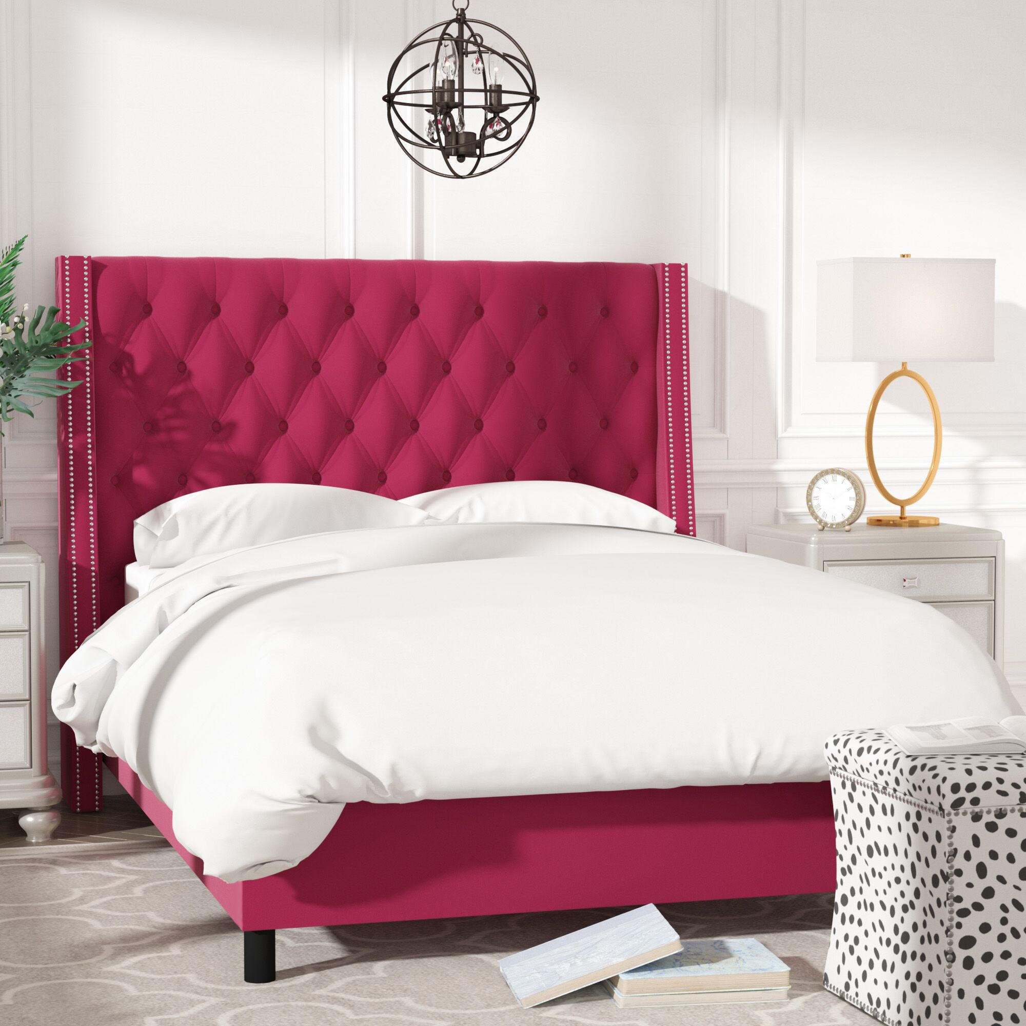 Aurelien Tufted Cotton Upholstered Panel Bed Size: Queen