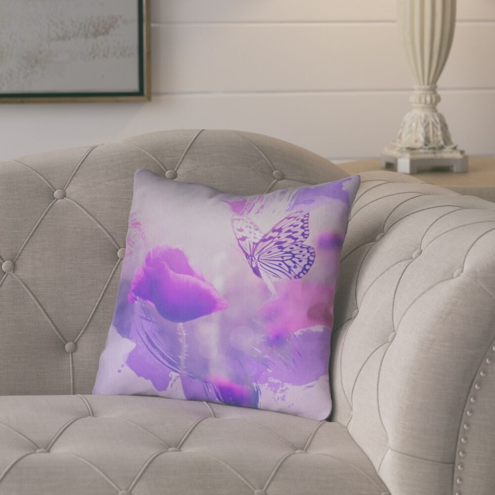 Elwyn Watercolor Butterfly and Rose Indoor/Outdoor Throw Pillow Size: 18