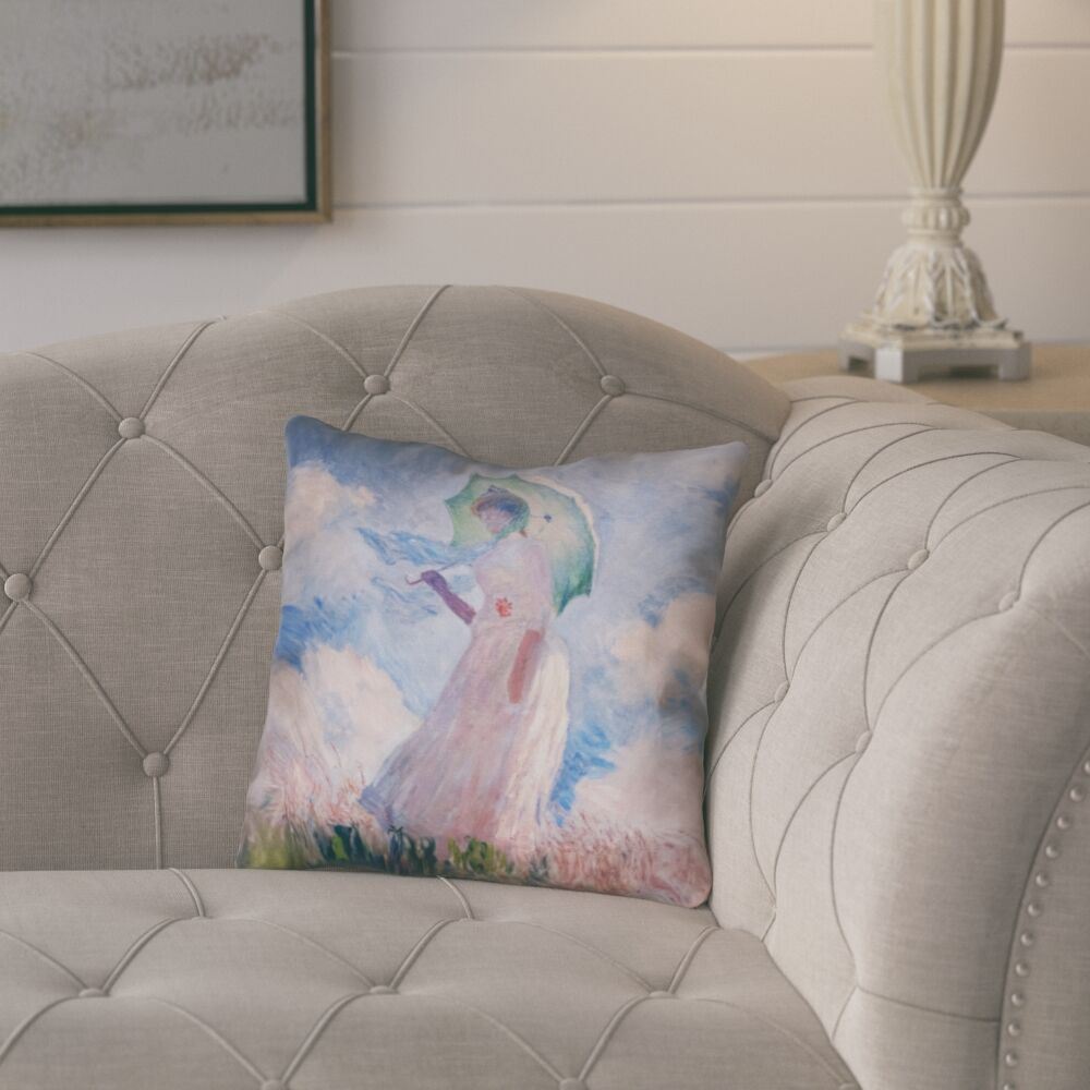 Elwyn Watercolor Woman with Parasol Square Zipper Pillow Cover Size: 20