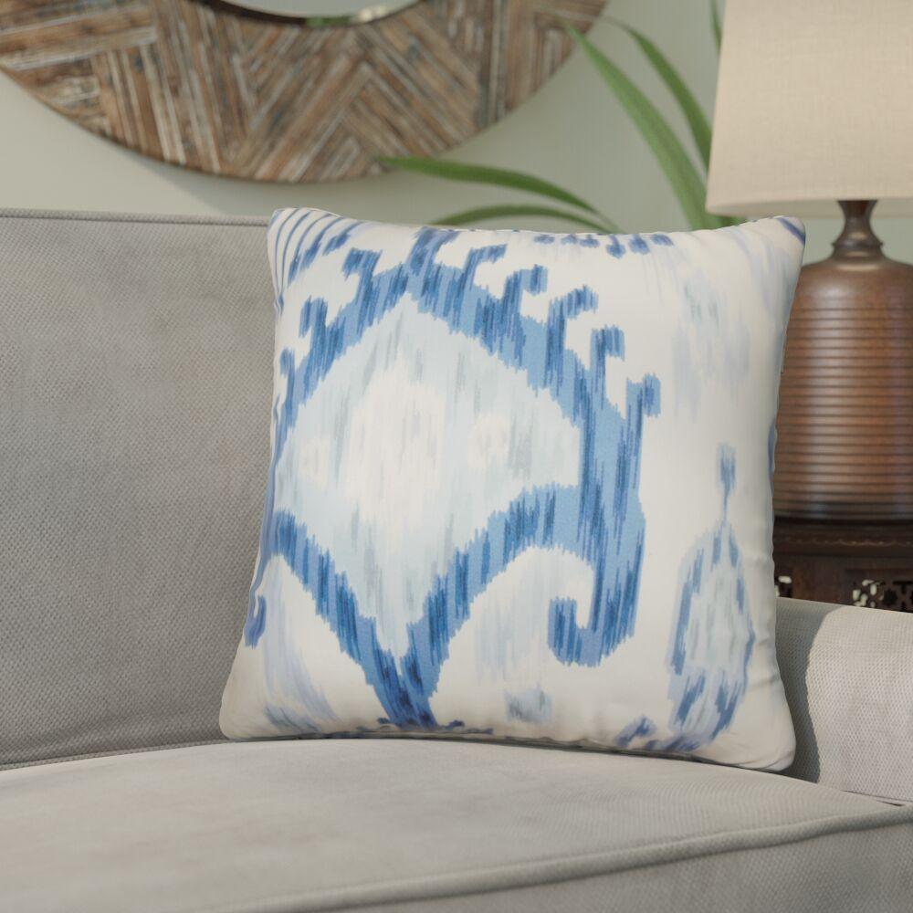 Bringewood Ikat Cotton Throw Pillow Color: Indigo, Size: 24