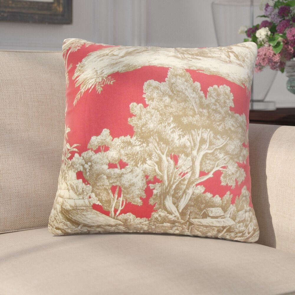 Wellhead Toile Cotton Throw Pillow Color: Red, Size: 20
