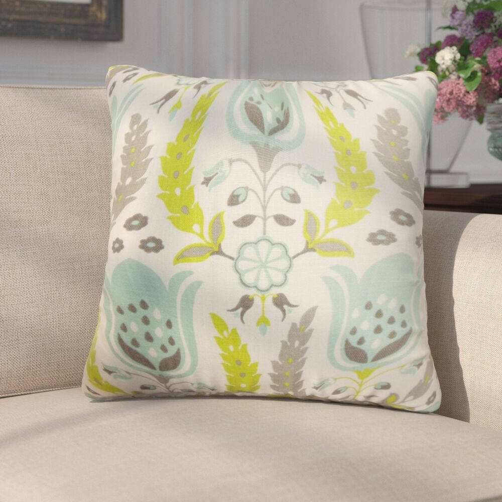 Mifflin Floral Cotton Throw Pillow Color: Pool, Size: 24