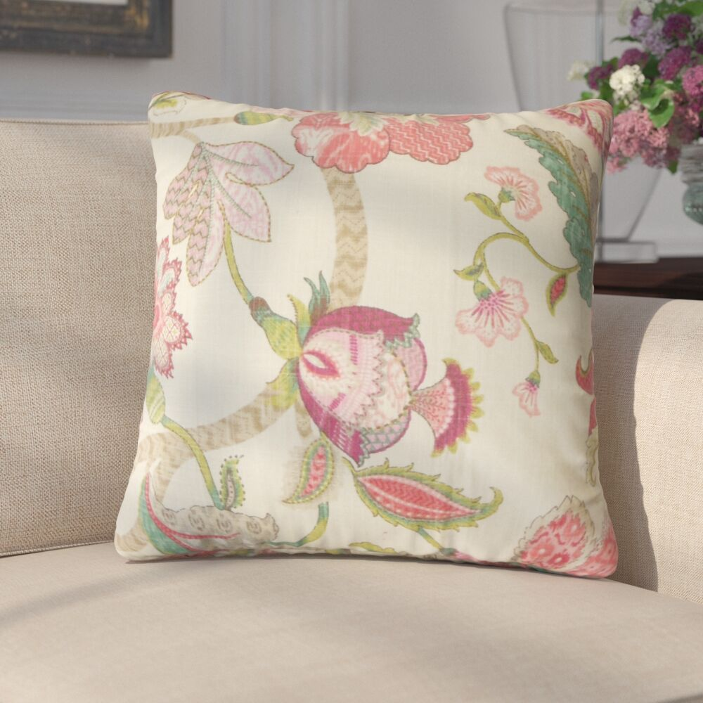 Chancery Floral Cotton Throw Pillow Color: Rose, Size: 24
