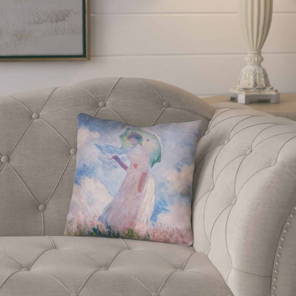 Elwyn Watercolor Woman with Parasol Throw Pillow Size: 18