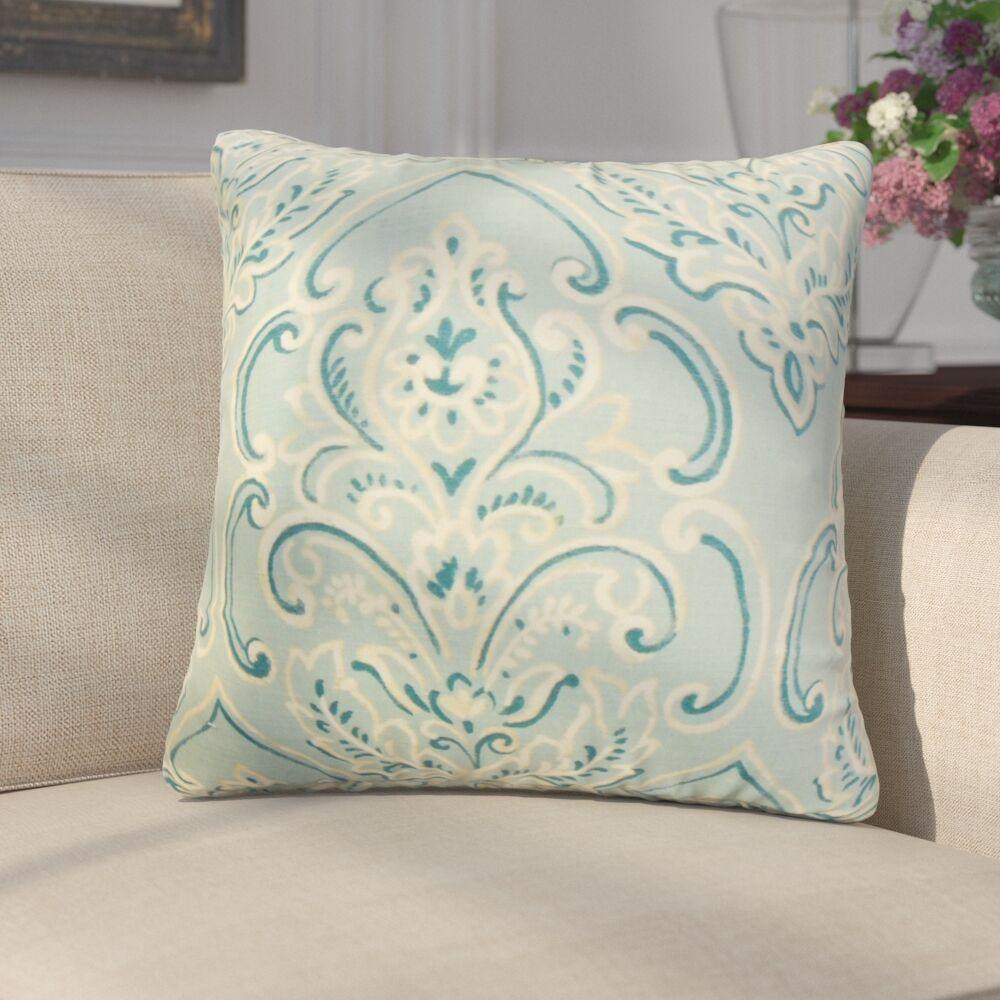 Chancellor Floral Throw Pillow Color: Baby Blue, Size: 20