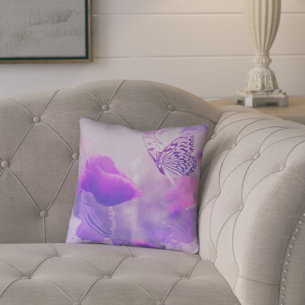 Elwyn Contemporary Watercolor Butterfly and Rose Throw Pillow Size: 20