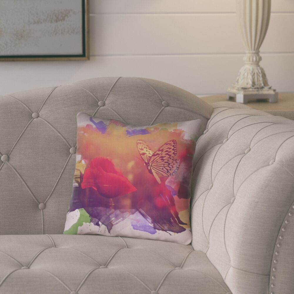 Elwyn Contemporary Watercolor Butterfly and Rose Square Zipper Pillow Cover Size: 16
