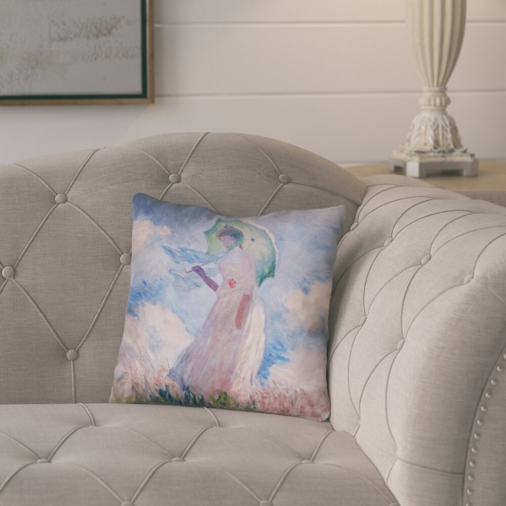 Elwyn Watercolor Woman with Parasol Square Throw Pillow Size: 26