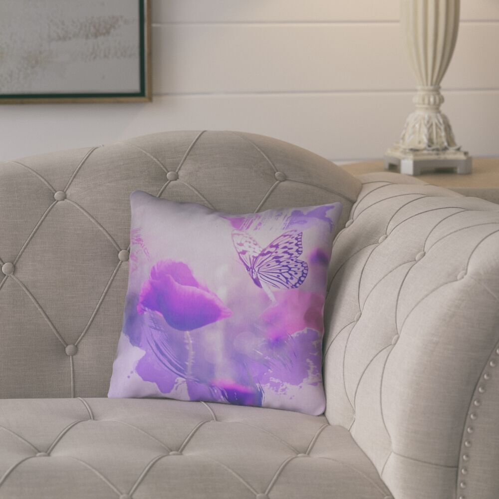 Elwyn Watercolor Butterfly and Rose Square Concealed Zipper Pillow Cover Size: 16