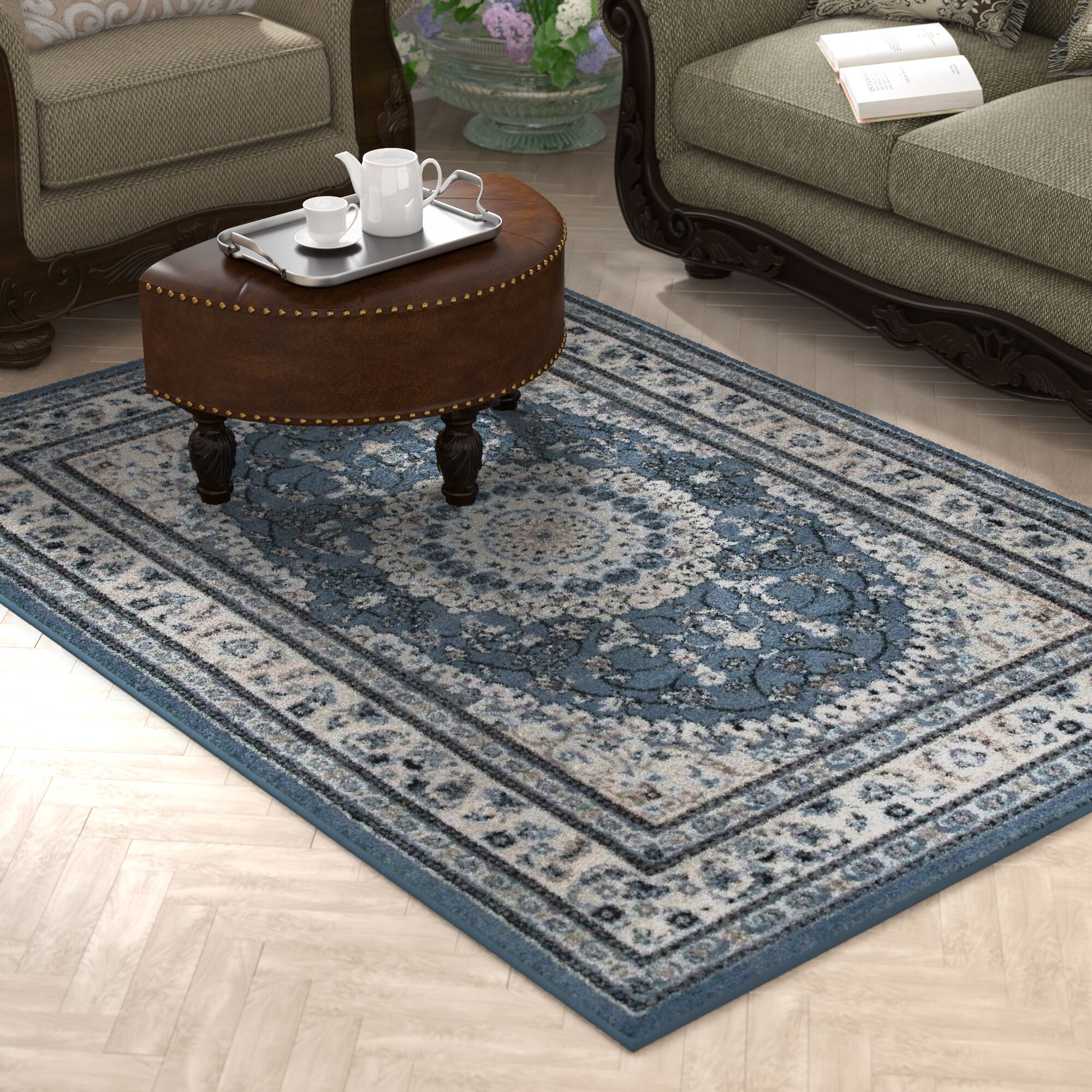 Gwinn Blue Indoor/Outdoor Area Rug Rug Size: 5' x 7'