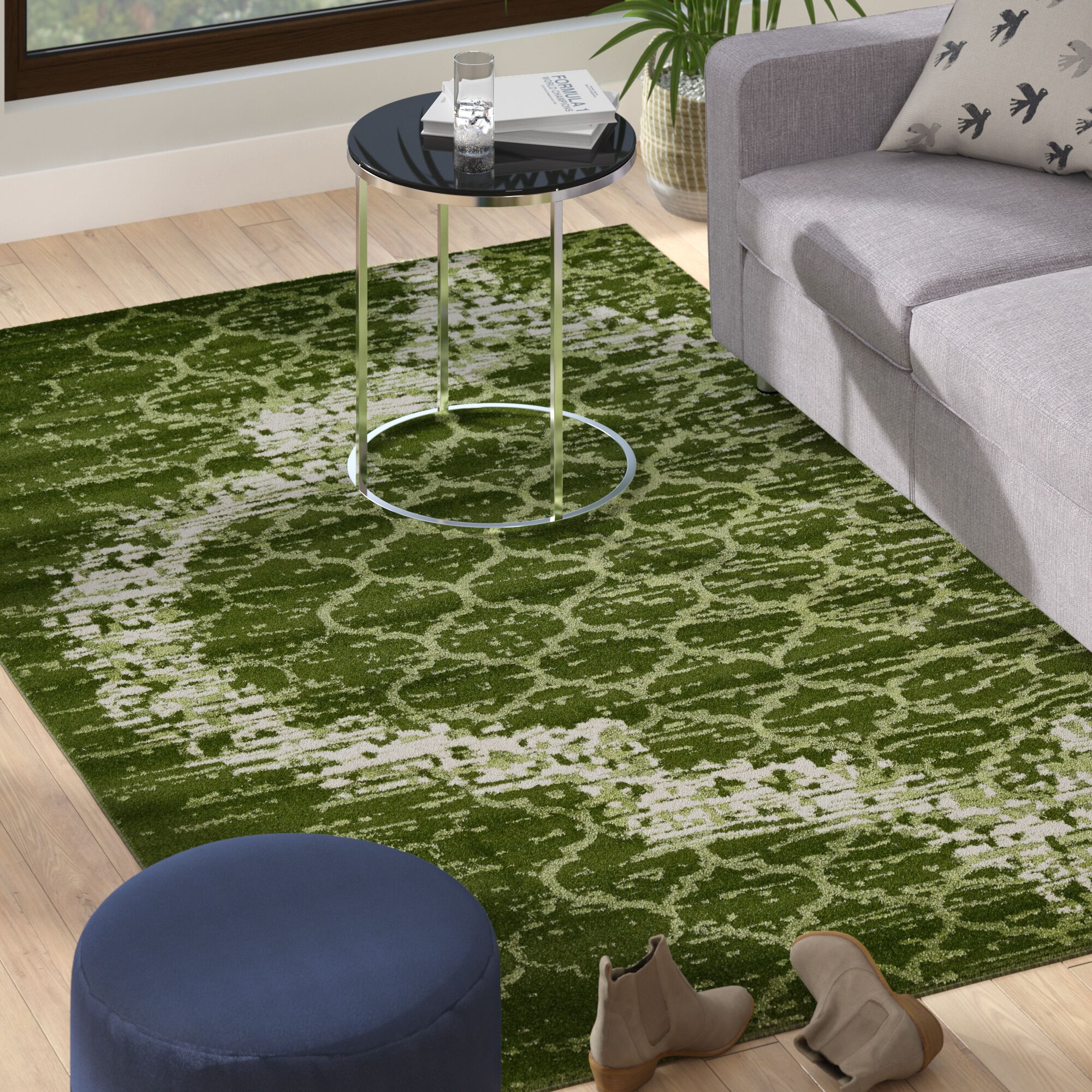 Steinbeck Green Area Rug Rug Size: Rectangle 5' x 8'