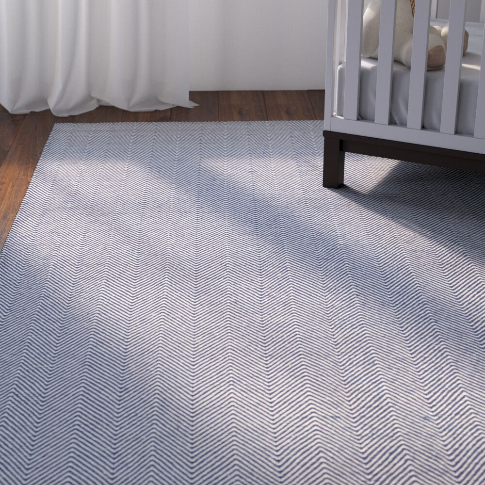 Alonso Hand-Woven Gray/Blue Indoor/Outdoor Chevron Area Rug Rug Size: Rectangle 5' x 8'