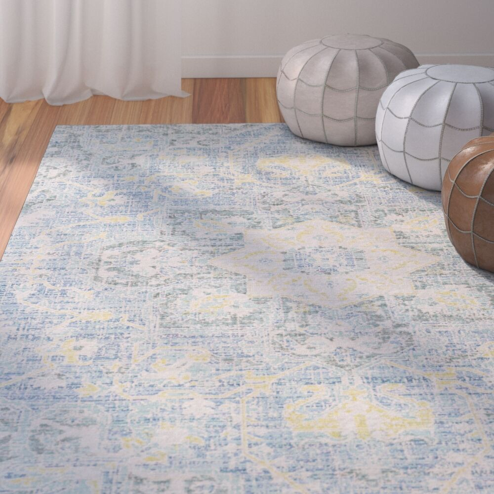 Lyngby-Taarbæk Aqua/Bright Yellow Area Rug Rug Size: Rectangle 5'3