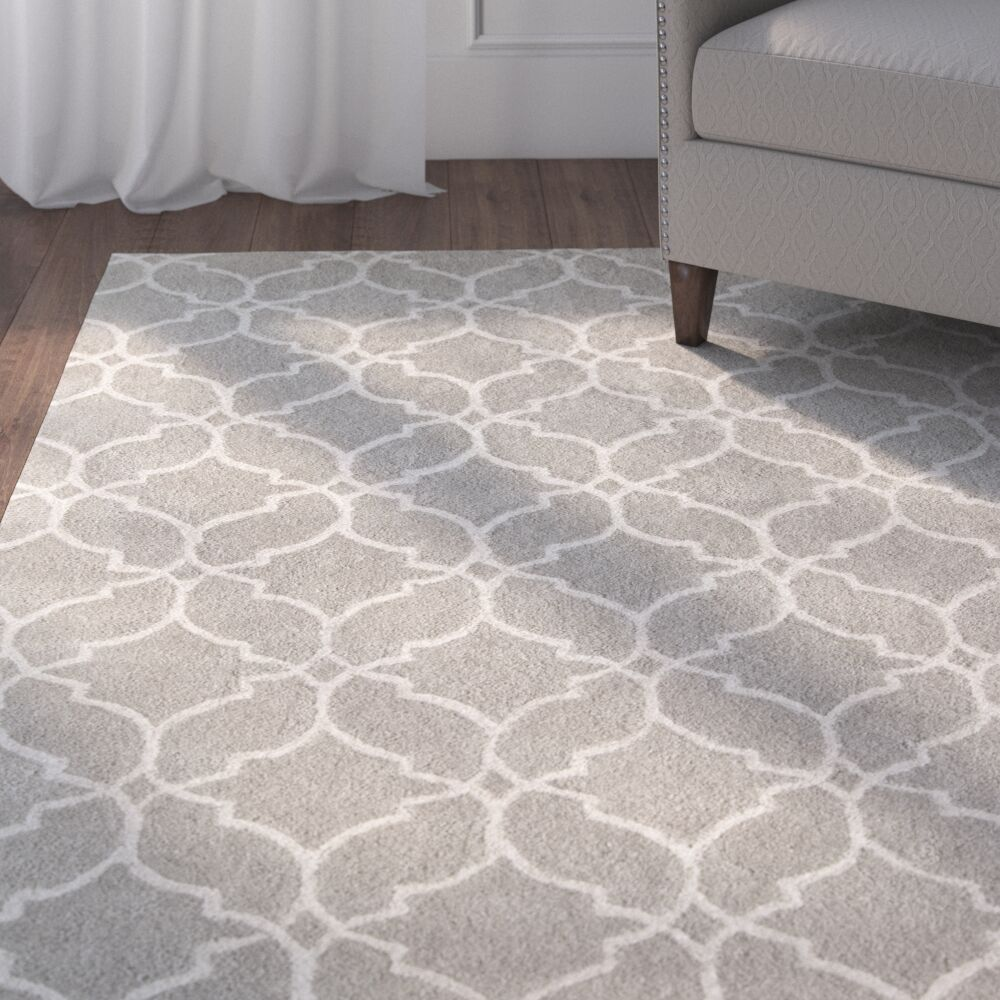 Dorothy Geometric Hand-Tufted Wool Gray Area Rug Rug Size: 5' x 8'