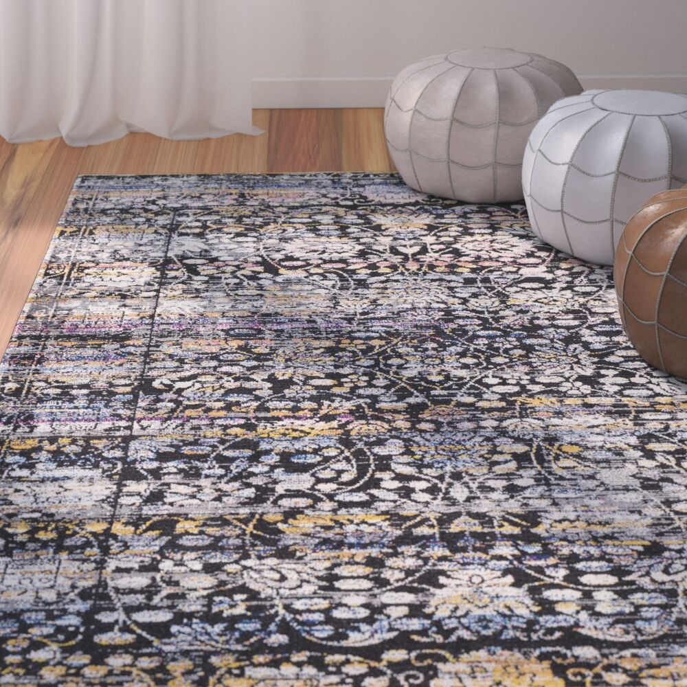 Walferdange Black Area Rug Rug Size: Rectangle 5' x 7'3