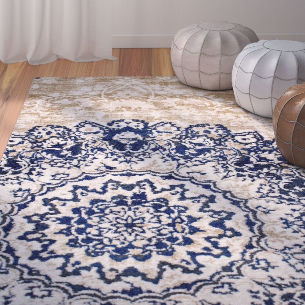N'de Transitional Medallion Blue/Beige Area Rug Rug Size: 7'10