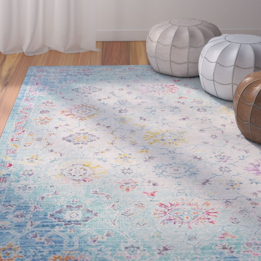 Lyngby-Taarbæk Classic Floral and Plants Aqua Area Rug Rug Size: Rectangle 5'3