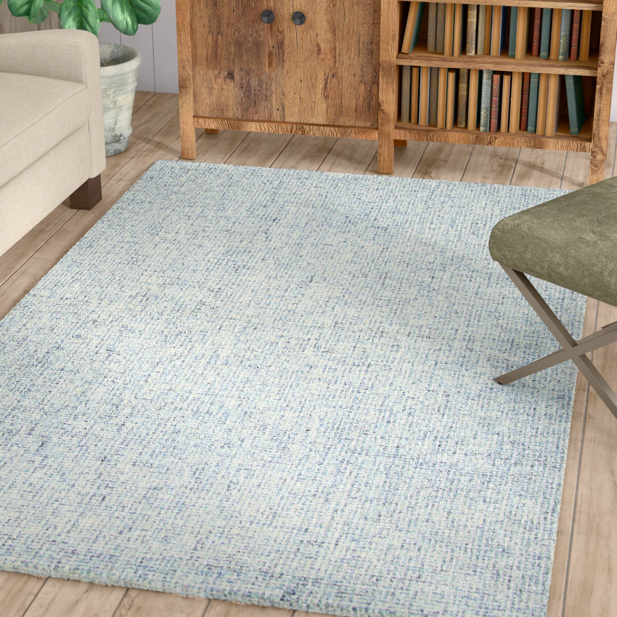 Marsh Hand-Tufted Wool Blue Area Rug Rug Size: Rectangle 5' x 8'