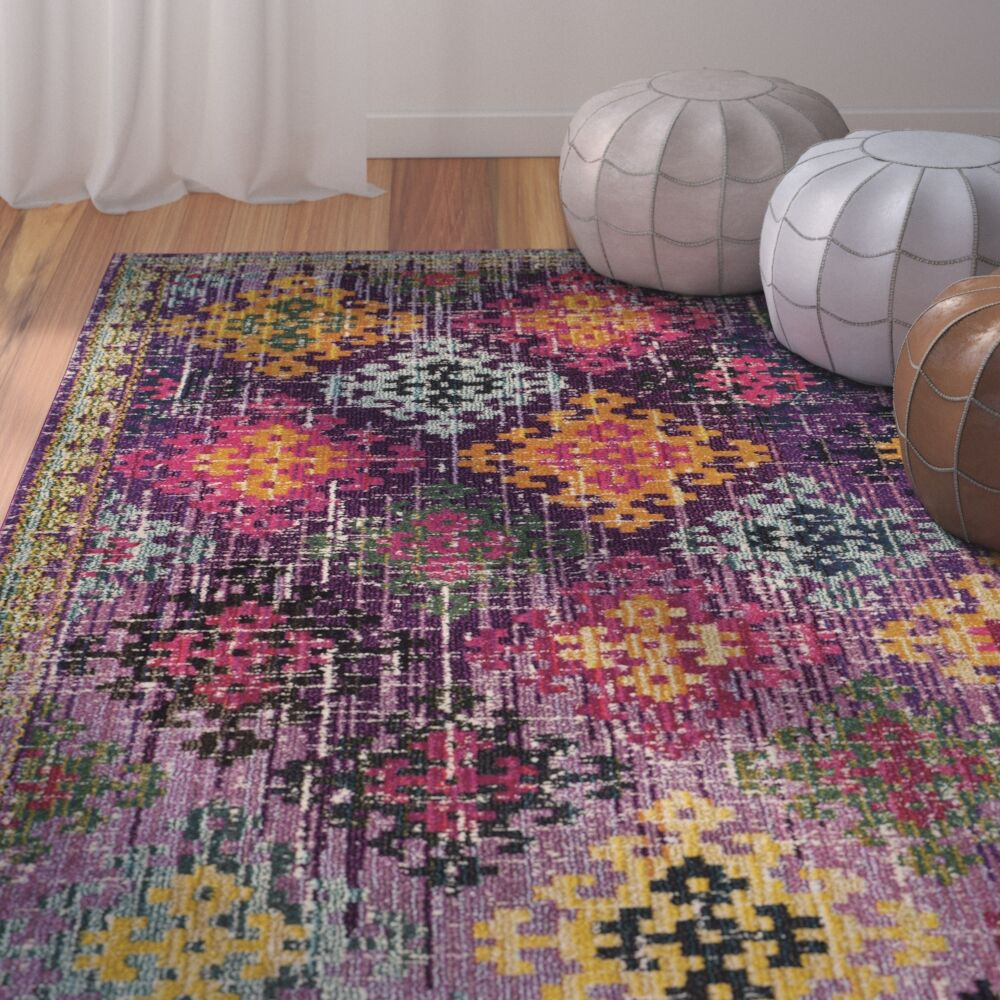Chana Purple/Pink/Yellow Area Rug Rug Size: Rectangle 8' x 10'