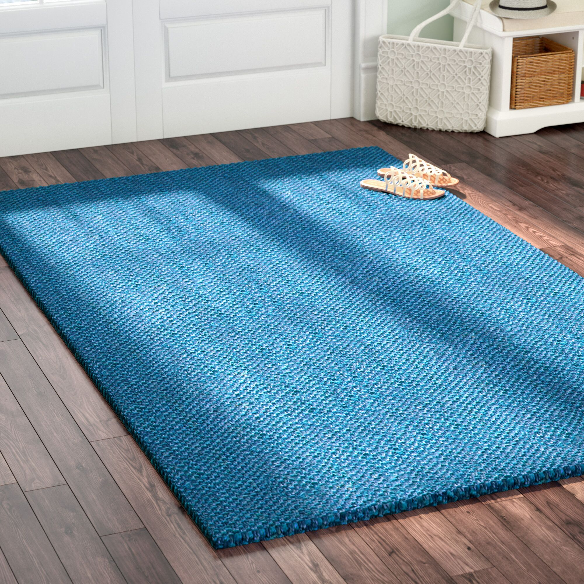 Emery Hand-Woven Blue Area Rug Rug Size: Rectangle 5' x 8'