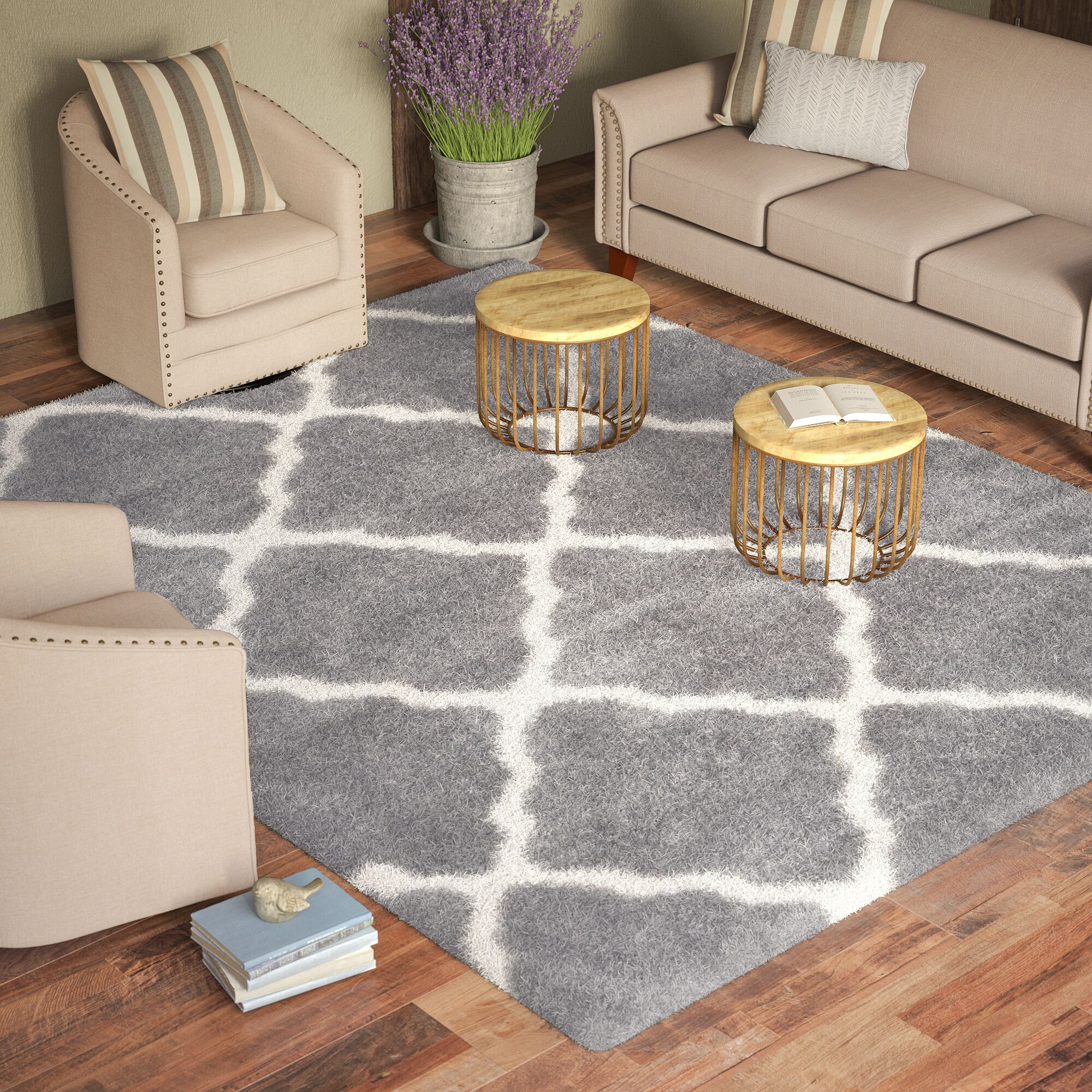 Macungie Geometric Gray Indoor Area Rug Rug Size: Rectangle 8'6